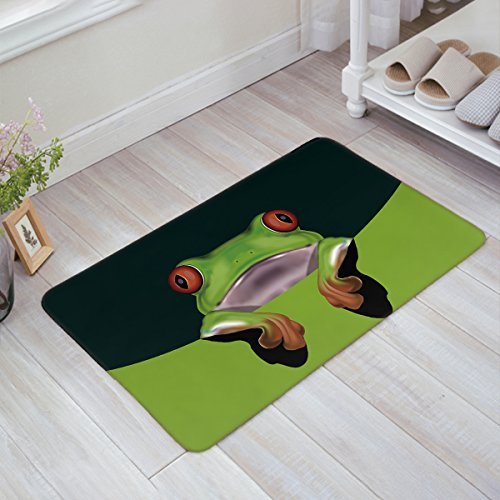 Doormat Kitchen Bathroom Soft Durable Accent Rug Small Carpet Mat Easy To Clean Modern Woven Hearth Mat Light 23.6 x15.7inch,Red-eye tree frogs