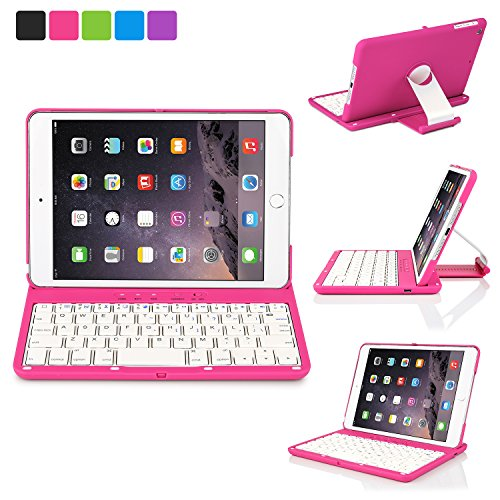 iNNEXT Aluminum 360 Swivel Rotating Stand Case Cover Built-in Bluetooth Keyboard for ipad Mini 1 2 3 with Retina Display (Hot Pink)