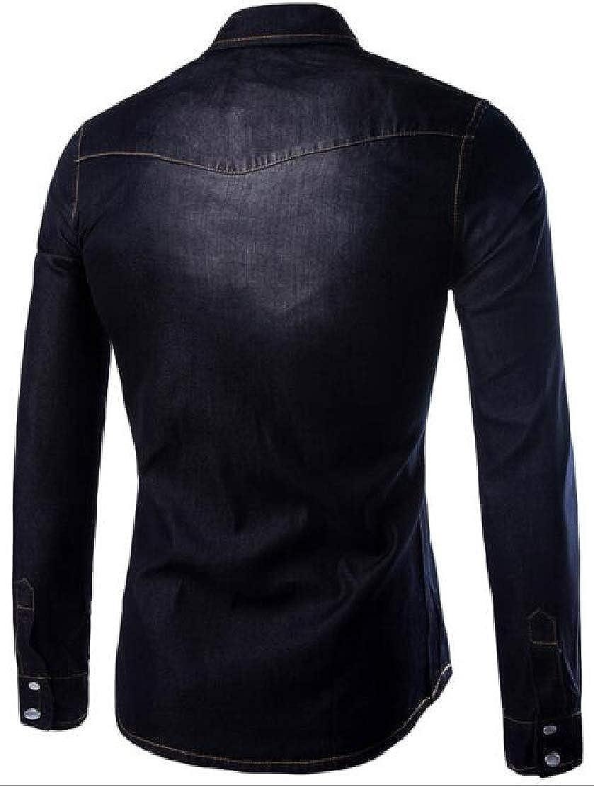 pipigo Men Lapel Neck Denim Basic Pocket Curved Hem Faded Button Down Shirts