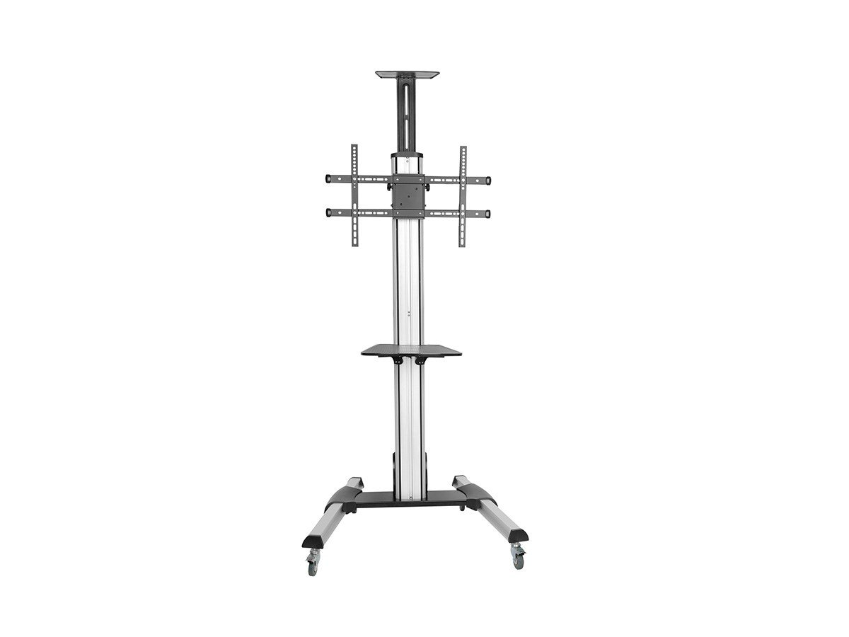Monoprice Ultra-Premium Aluminum Portrait?to?Landscape TV Display Cart for 42'' - 55'' Displays max 44 lbs with Portrait-to-Landscape Rotation | Hand Crank Height Adjustment | Cable Management