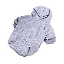 Inzoey Adjustable Warm Puppy Clothes for Dog Cat Puppy Outwear Coat Sweatshirt Gray s