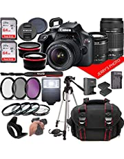Canon EOS Rebel T100 DSLR Camera w/Canon EF-S 18-55mm F/3.5-5.6 + EF 55-250mm F/4-5.6 is Zoom Lenses + Case + 64GB Memory (28pc Bundle)
