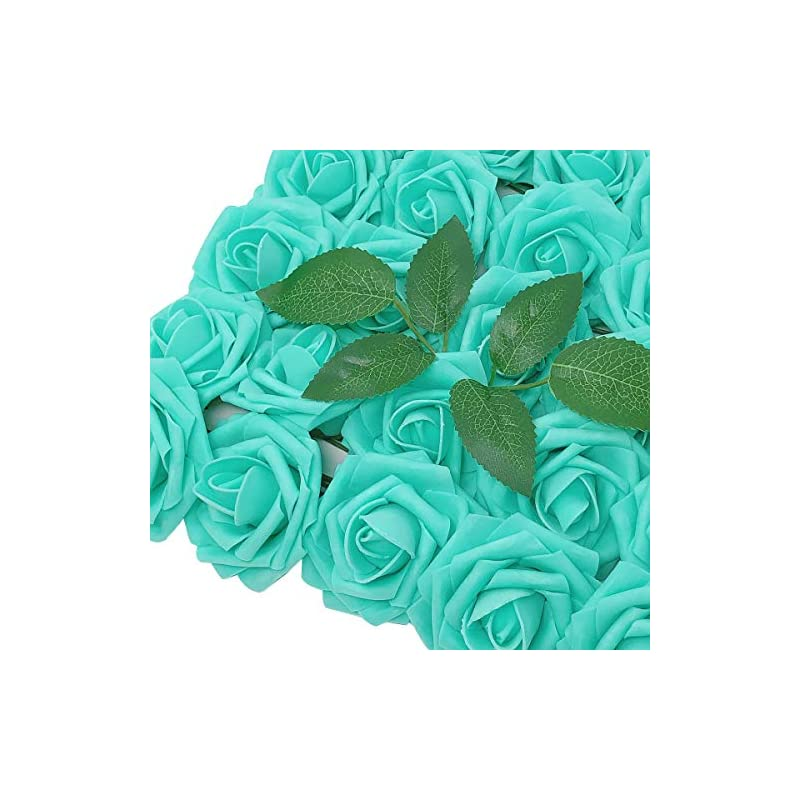 silk flower arrangements wrapables artificial rose flower, real touch flowers for diy wedding bouquets and centerpieces, aquamarine