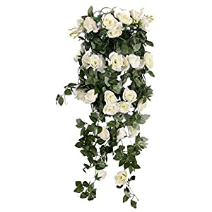 Blesiya Artificial Rose Silk Flower Garland Ivy Vine Outdoor Indoor Hanging Decor White 116