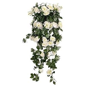 Blesiya Artificial Rose Silk Flower Garland Ivy Vine Outdoor Indoor Hanging Decor White 114