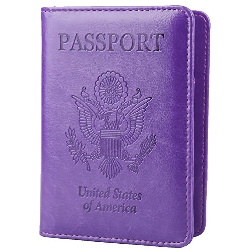 GDTK Leather Passport Holder Cover RFID Blocking Travel Wallet (Purple)