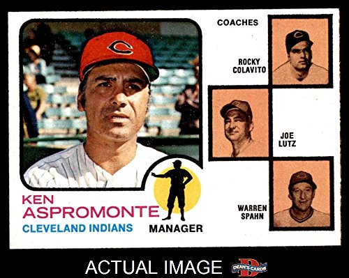 1973 Topps # 449 BRN Indians Leaders Ken Aspromonte / Rocky Colavito / Joe Lutz / Warren Spahn Cleveland Indians (Baseball Card) (Brown Background & Spahn's Right Ear is Rounded) Dean's Cards 6 - EX/MT Indians