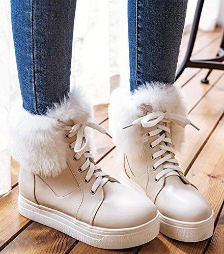 Lace Boots Beige Platform Mid IDIFU Heels Ankle Snow High Fluffy Warm Women's Wedge Up Fur aqwxO86