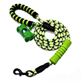 Mozing Rope Leash & Dog Waste Bag with Dispenser and Leash Clip, 6 ft Reflective Dog Leash with Comfortable Padded Handle for Medium and Large Dog, Suitable for Training and Walking