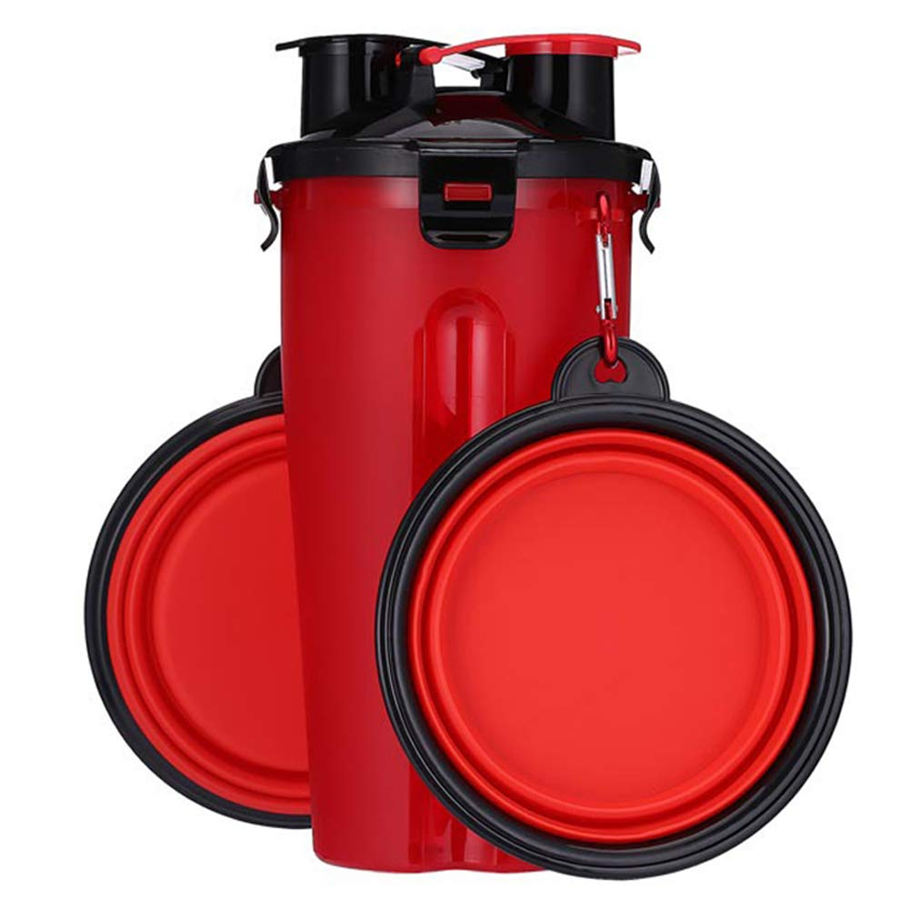 Pet Water Bottle,Foldable Puppy Big Dog Travel Bowls for Dogs Cats Safety Pet Cat Drinking Bottle Dog Water Food Bowl(Red)