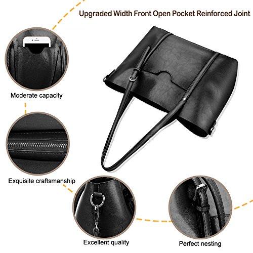 Women Top Handle Satchel Handbags Shoulder Bag Tote Purse Greased Leather Iukio (Black) by IUKIO (Image #6)