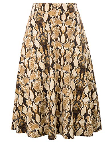 - Womens Vintage High Waist A Line Pleated Midi Skirt with Pockets(M,Snake Print)