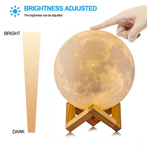 ACED 3D Printing 4.7Inch Moon Light Lamp Baby Night Light, Dimmable Color Changing, Touch Sensor Battery Operated LED Table Lamps Bedside for Bedrooms, Cool Christmas Gifts for Kids Teens by ACED (Image #2)