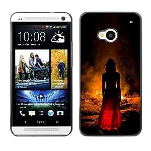 For HTC One M7 Case , Woman Fire Red Dress Fashion - Diseño Patrón Teléfono Caso Cubierta Case Bumper Duro Protección Case Cover Funda