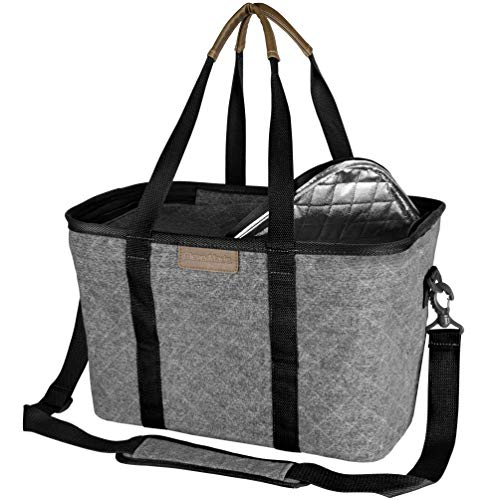 CleverMade SnapBasket Insulated Reusable Grocery Shopping Bag with Shoulder Strap, Reinforced Bottom and Zippered Lid, Collapsible Canvas Picnic and Food Delivery Tote, 30L Size, Heather Grey/Black