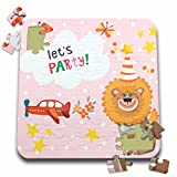 Uta Naumann Sayings and Typography - Cute Baby Safari Lion Typography On Pink Polkadots - Lets Party - 10x10 Inch Puzzle (pzl_275542_2)