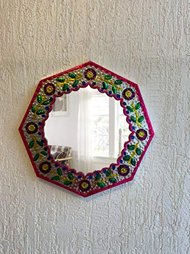 Casa Fiesta Designs Embossed Tin Mirror Wall Hanging Mexican Home Decor, Mexican - Style Bathroom Mirrors Mexican