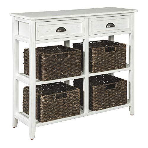 Ashley Furniture Signature Design - Oslember Storage Accent Table - Includes 4 Brown Removable Baskets - Antique White Finish ()
