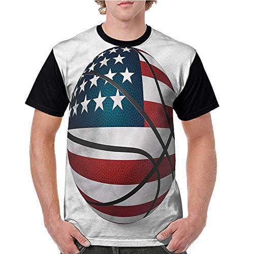 Baseball T-Shirt Summer,Sports,Ball Ornamented USA Flag S-XXL Summer Custom Tees for Girls