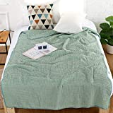 osierr6 Waffle Weave Blanket,Breathable Warm Organic Natural Cotton Blend Blanket Sheets Yoga Blankets Soft Thermal Throws Baby Blankets for Single,Twin,Full,Queen or King Size Bed Winter(Green)