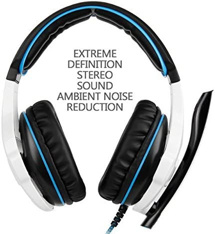 SADES SA 810 de 3,5 mm de sonido envolvente estéreo PC Gaming Headset la venda de los auriculares con micrófono para / Laptop de control de volumen Over-the-Ear PC (blanco): Amazon.es: Electrónica
