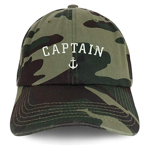 Trendy Apparel Shop Captain Anchor Embroidered Soft Crown 100% Brushed Cotton Cap - CAMO