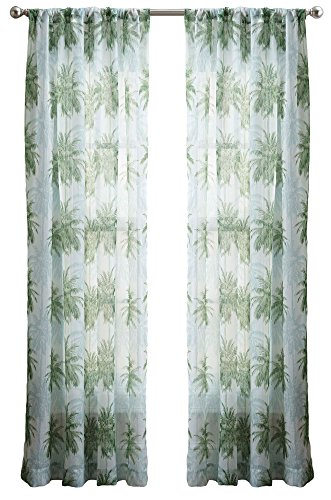 Feature 3 Feet Sheer Curtain (CHF Palm Tree Crinkle Voile Sheer Curtain Panel 50''W x 84''L Green)