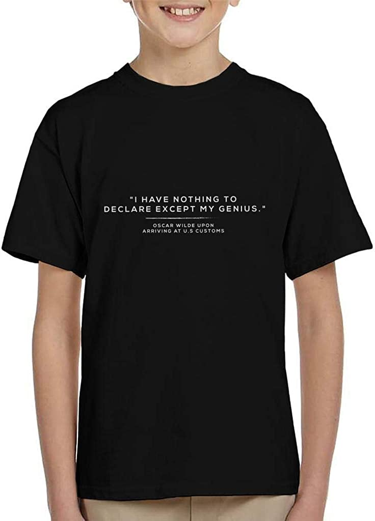 I Have Nothing to Declare Except My Genius Oscar Wilde Quote Kids T-Shirt