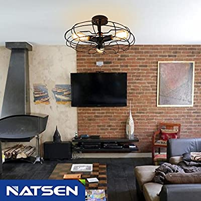NATSEN Vintage Style Industrial Barn Metal Semi Flush Mount Light (NTS-X20035-3X)