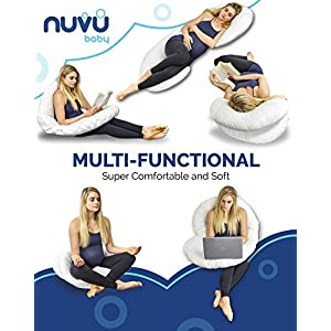 NUVU BABY Full Body Pregnancy Pillow – Extra Soft C Shaped Support Cushion for Maternity Nursing and Back Pain Relief - 100% Cotton Washable Cover