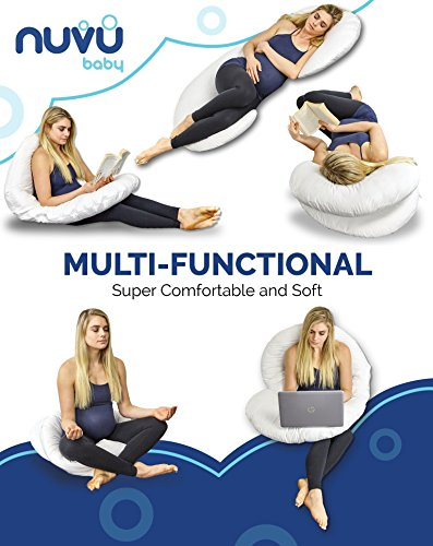 NUVU newborn whole Body Pregnancy Pillow Extra fluffy C Shaped guidance Cushion for Maternity Nursing and Back Pain Relief 100 Cotton Washable Cover