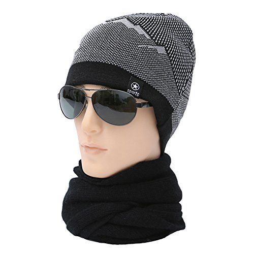 Ukallaite Our Fashion Century - Gorro de Punto elástico para Hombre, Forro Polar, cálido, Color Negro, Gris negro