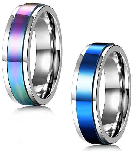 FIBO+STEEL+2+Pcs+6MM+Stainless+Steel+Spinner+Rings+for+Men+Women+Promise+Ring%2CSize+7