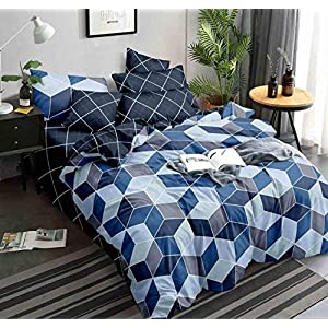 Kuber Industries Square Design Glace Cotton Double Bedsheet with 2 Pillow Covers (Blue)-CTKTC33173