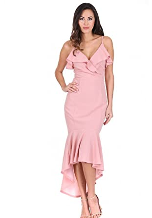d716c53e2dd AX Paris Women s Wrap Fishtail Midi Dress at Amazon Women s Clothing ...