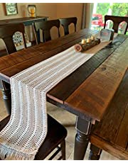 Cedilis 2 Pack Macrame Table Runner, 12 x 108 Inch Bohemian Table Runners with Tassel, Natural Cotton Crochet Lace Table Runners for Boho Rustic Wedding Bridal Shower Party Farmhouse Dining Decor
