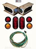 "TecNiq LED Oval Light Kit For Trailers Trucks RV With Enclosed Steel Box & Wiring Harness (Under 80"" Width)"