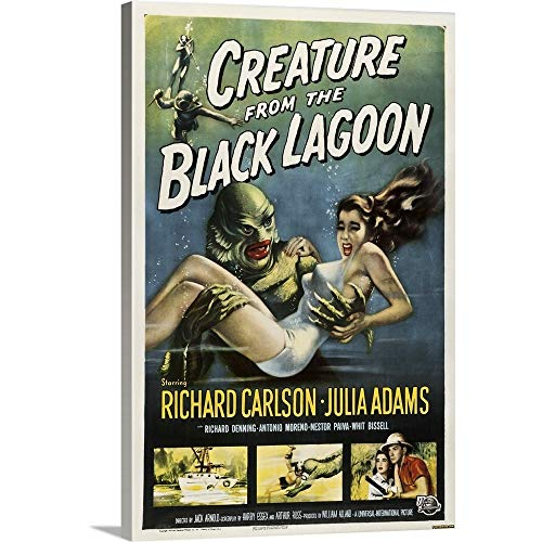 - Creature from The Black Lagoon - Vintage Movie Poster Canvas Wall Art Print, 24
