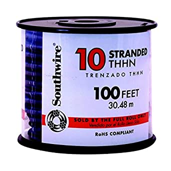 Building Wire, THHN, 10 AWG, Black, 100ft: Electrical Wires ...