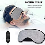 Heated Eye Mask Portable Hot and Cold USB Steam Heating Eye Mask to Relieve Puffy Eyes,Dark Cycles,Dry Eyes,Tired Eyes with Time&Temp Control Warming Night Massage Cotton Eye Mask for Men&Women
