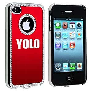 Apple iPhone 4 4S Red S862 Rhinestone Crystal Bling Aluminum Plated Hard Case Cover Yolo