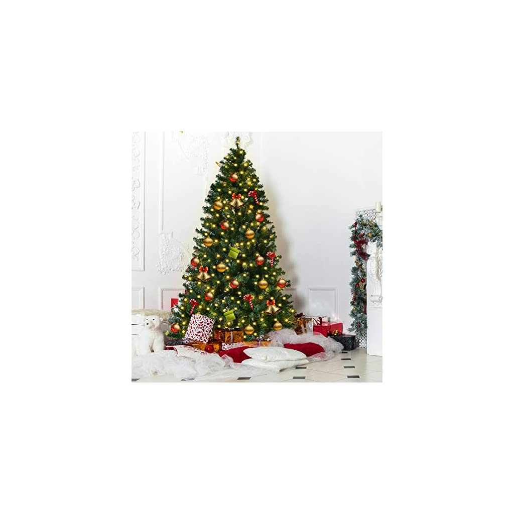 Goplus-7FT-Pre-Lit-PVC-Artificial-Christmas-Tree-Auto-SpreadClose-up-Premium-Spruce-Hinged-w-300-LED-Lights-Metal-Stand-Green-7-FT