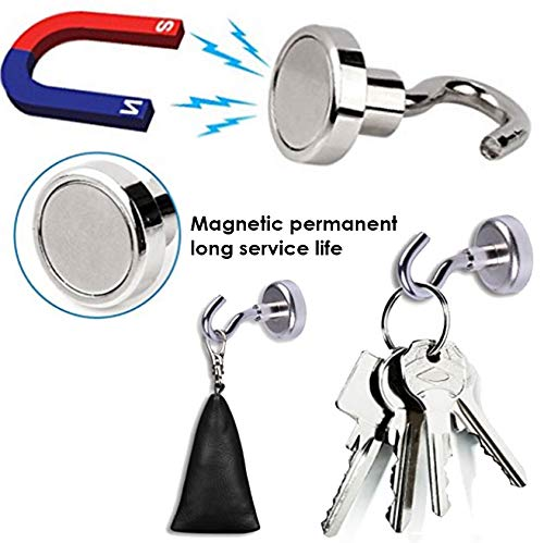 Amazingly Strong Magnet Hooks 26LBS Magnetic Hooks Heavy Duty 4XHooks, 1XPush Pin The Best for Office Garage Kitchen Refrigerator Coats Utensils Cruise Cabin Indoor/&Outdoor Hanging.