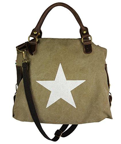Canvas Estrella de piel de mujer (bolso * * 2tamaños Beige - Schlamm - L