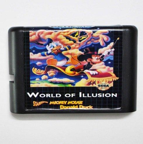 - Taka Co 16 Bit Sega MD Game World Of Illusion Starring Mickey Mouse & Donlad Duck 16 bit MD Game Card For Sega Mega Drive For Genesis