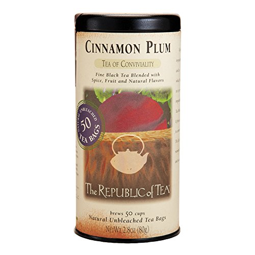 The Republic Of Tea Cinnamon Plum Black Tea, 50 Tea Bags, Spiced Black Tea, Gourmet Tea Blend (Free Splash Sugar)