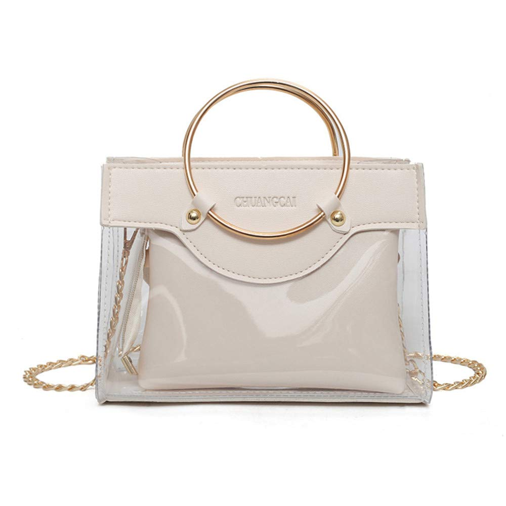 Clear Purse,2 in 1 Clear Tote Transparent Bag Top Ring Handle Handbag Small Chain PVC Shoulder Bag
