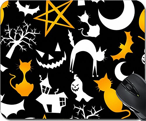 MSD Natural Rubber Mousepad Mouse Pads/Mat design: 14777608 Funny halloween characters seamless pattern background Vector illustration layered for easy manipulation and custom (Easy Cartoon Characters For Halloween)