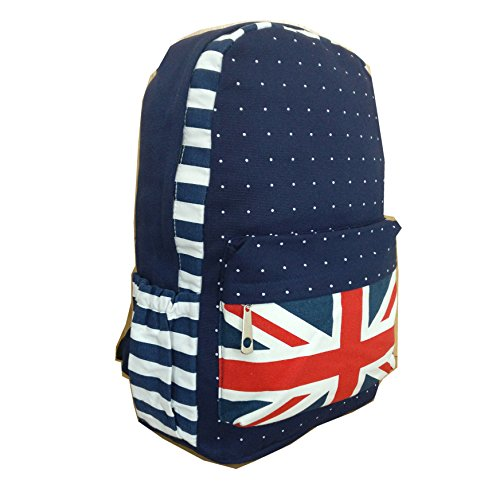 Travel Backpack Canvas Girls Canvas Cute Pattern Bag Union Backpack Retro Design Jack School Women Lightweight Young RS007BLUEWHITE for UK SELLER Rucksack Shoulder Txq868