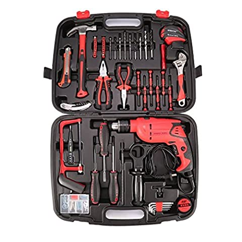 Drill/Driver Project Kit,YKS 12V Corded Drill Driver Set with 98-pcs Screwdriver Bits including DigitalTester,Mini Flashlight,BowSaw, Standard Drill bits, pliers, Wrench, with Storage (Lightweight Corded Drill)
